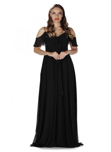 Pierre Cardin Askılı Omuz Detaylı Uzun Abiye Elbise Siyah